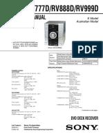 Sony Hcd-rv777d,Rv888d,Rv999d