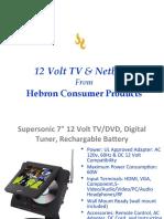 12 Volt TV, 12 Volt Televisions, 12V TV, Digital TV