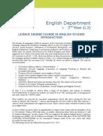 LICENCE LLCE 3 Specialité Anglais 2016-17