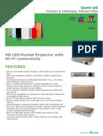 Vivitek Qumi Q6 800 Lumen WXGA DLP Pico Projector With Wi-Fi (Black)