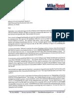 Jefferson Parish President Mike Yenni's letter responding to Councilman Chris Roberts