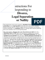 Responding to a Divorce, Legal Separation or Nullity
