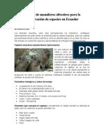 Manejo de Mamíferos Silvestres Para La Conservación de Especies en Ecuador