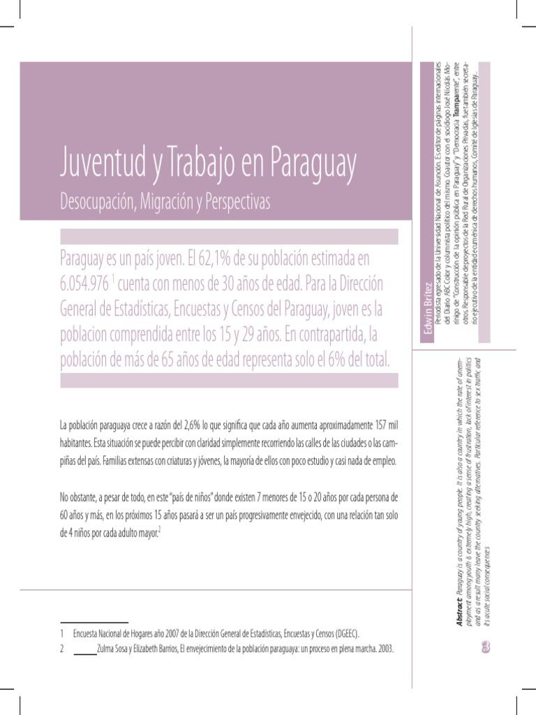 Juventud Y Trabajo En El Paraguay Pdf
