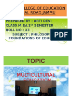 MULTICULTURAL EDUCATION by Arti devi M.Ed 1st sem