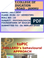 DOLLARD's behavioural APPROACH by Arti devi M.Ed 1st Sem