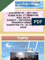 PURPOSIVE  AND  QUOTA SAMPLING by Arti Devi M.ed 1st Sem