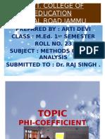 PHI-COEFFICIENT by Arti Devi M.ed 1st sem