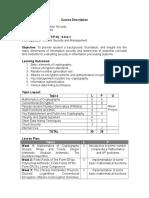 Information Security Course Description