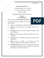 Myanmar Investment Law Official Translation !