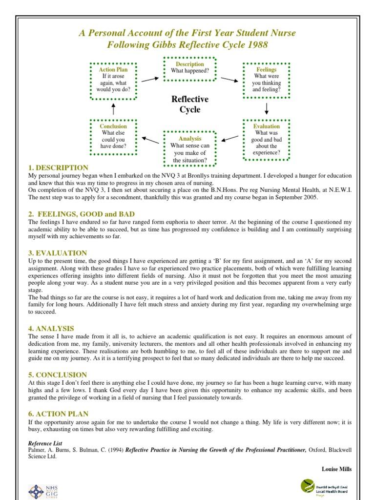 gibbs reflective model examples nursing