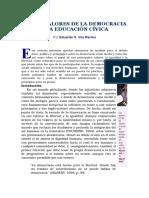 De Los Valores de La Democracia a La Educación Cívica