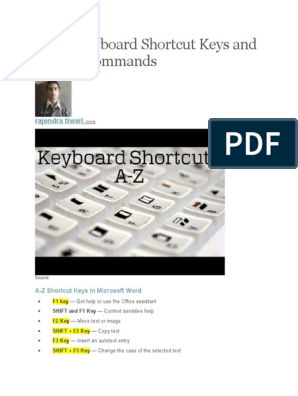 A to Z Keyboard Shortcut Keys and System Commands   Keyboard