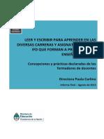 Leer y Escribir Para Aprender en Las Diversas Carreras y Asignaturas de Los IFD Que Forman a Prof de Ensen Anza Media