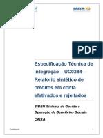 SIBEN ETI UC0284 Relatorio Sintetico Credito Conta Efetivado Rejeitado
