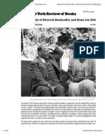 Tragedy o f Dietrich Bonhoeffer and Hans Von Dohnanyi