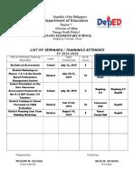 Sample-Seminars Attended 2015