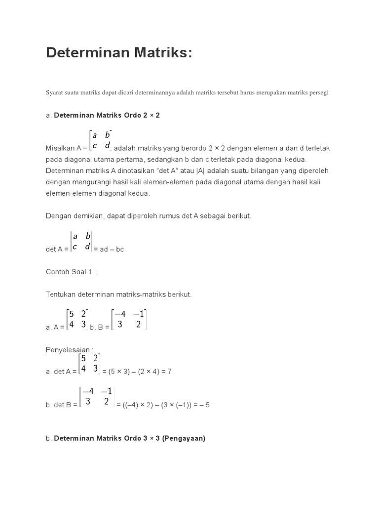 25 Contoh Soal Cerita Matriks Ordo 2x2 Kumpulan Contoh Soal