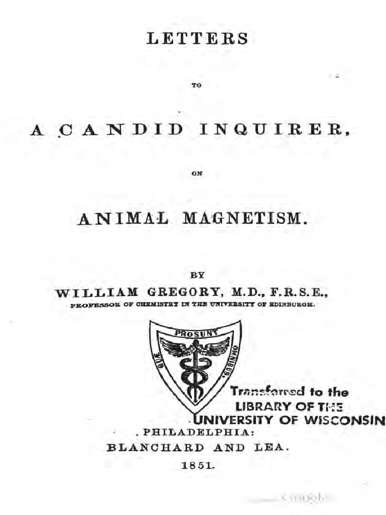 1851 Gregory Letters to a Candid Inquirer on Animal ...
