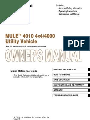 2009 Kawasaki MULE 4000 - Owners Manual pdf   Gasoline