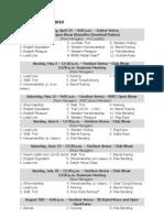 SVRC Show Schedule & Show Bill 2010