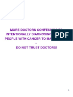 More Doctors Confessing to Intentionally Diagnosing Healthy People With Cancer to Make Money