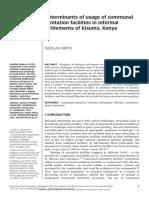 Determinants of Usage Communal Sanitation Facilities in Informal Settlements Kisumu(1)