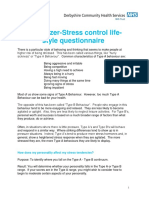The Glazer-stress Control Life-style Questionnaire PERSONALITY TYPE