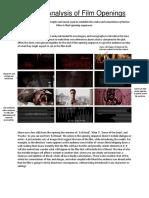 Close Analysis- Horror Openings