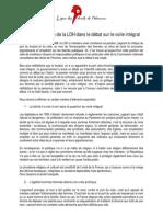 Position de la LDH française sur le port du voile intégral