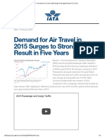 IATA - Demand for Air Travel in 2015 Surges to Strongest Result in Five Years
