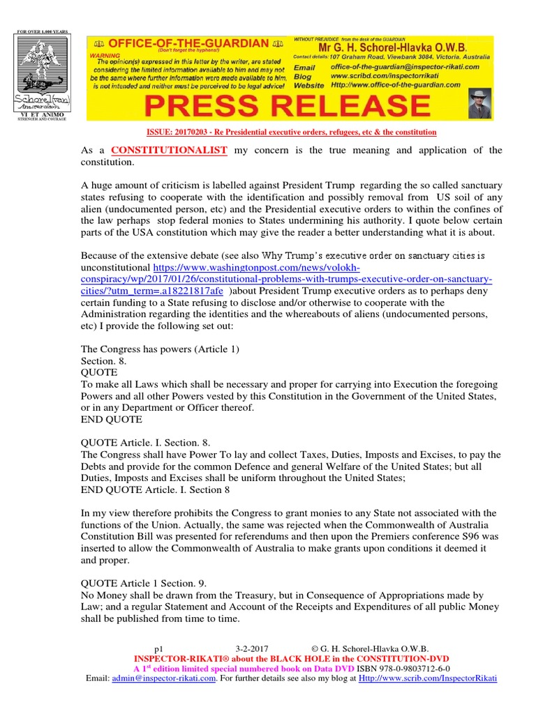 20170203-PRESS RELEASE Mr G  H  Schorel-Hlavka O W B  ISSUE