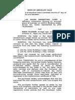Deed of Absolute Sale of Condominium Unit