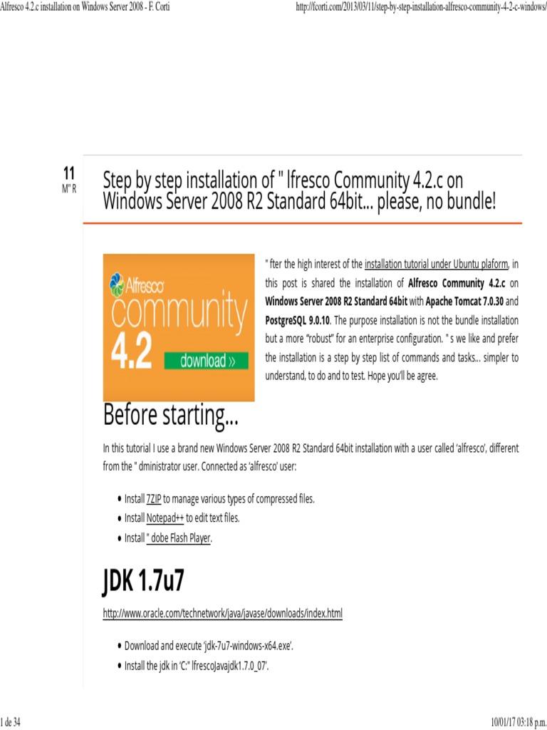 Alfresco 4 2 c Installation on Windows Server 2008 - F