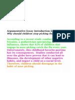 Argumentative Essay Introduction Example