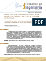 Use of Advanced Simulation Software Aspen Plus as Teaching Tool in Chemical Reaction Engineering