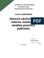 Omorul Săvîrșit Din Interes Material-Analiza Practicii Judiciare