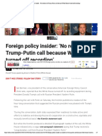 Foreign Policy Insider_ 'No Readout of Trump-Putin Call Because White House Turned Off Recording'