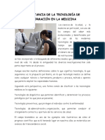Importancia de La Tecnología de Información en La Medicina
