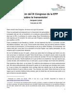 Conclusión del IX Congreso de la EFP sobre la transmisión [Jacques Lacan]