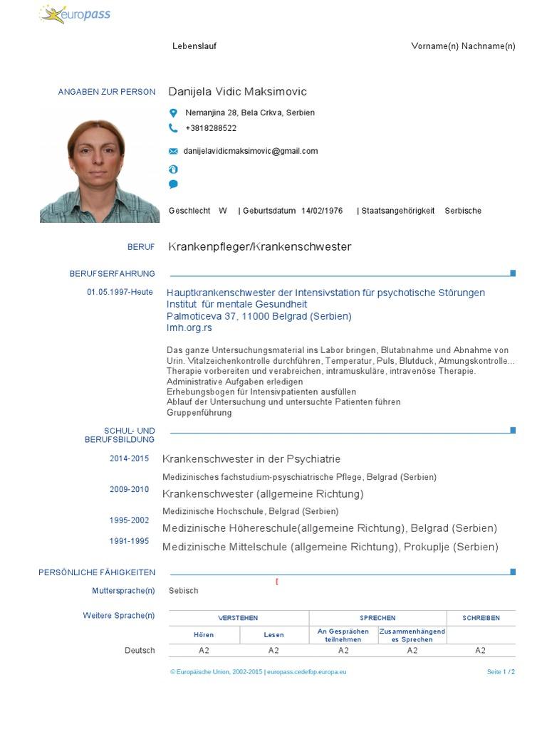 Gemütlich Oder Krankenschwester Lebenslauf Beispiel Bilder - Entry ...