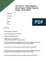 Formularz Zgłoszeniowy Rumunia 30.06-10.07.2016