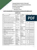 Liste Dacquisition 2016 Spécialites Médicales