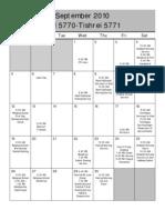 UT September Calendar