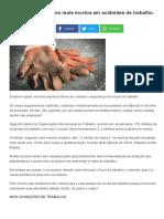 Brasil é o 4º País Com Mais Mortos Em Acidentes de Trabalho
