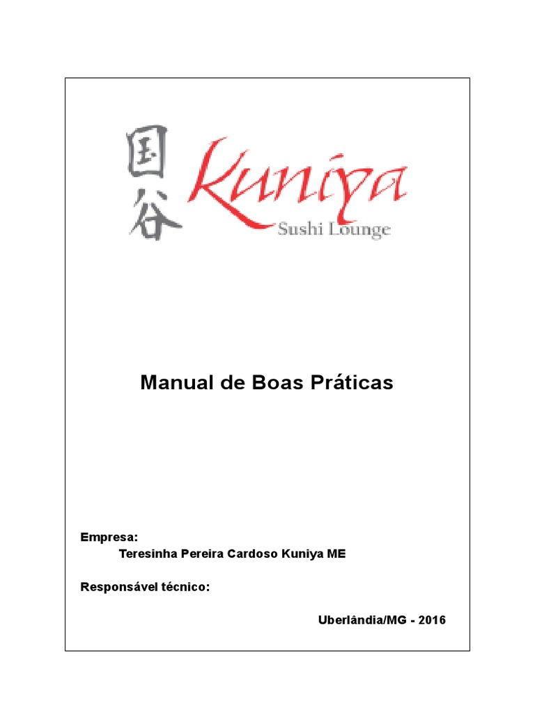 Mbpf Manual De Boas Pr Ticas De Fabrica O Kuniya Sushi Lounge