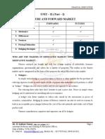 Unit - II Future and Forward Market ( Part - I)