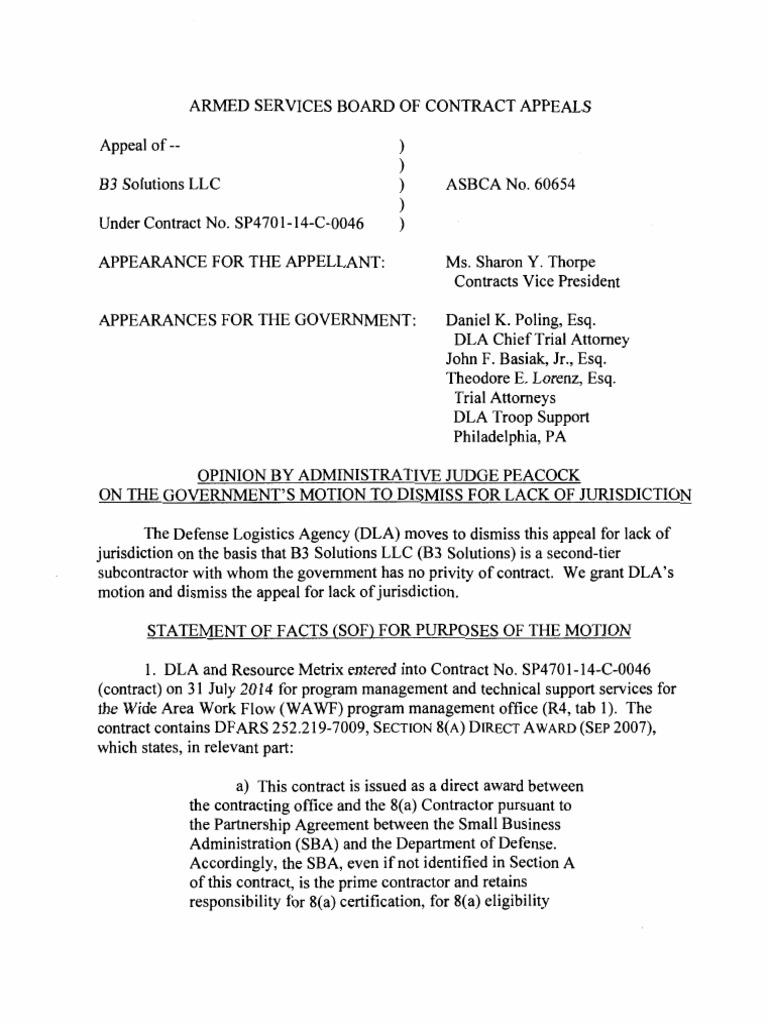 B3 Solutions Llc Asbca 2016 Appeal Jurisdiction