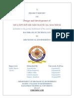 Multipurpose Mechanical Machine Project Report
