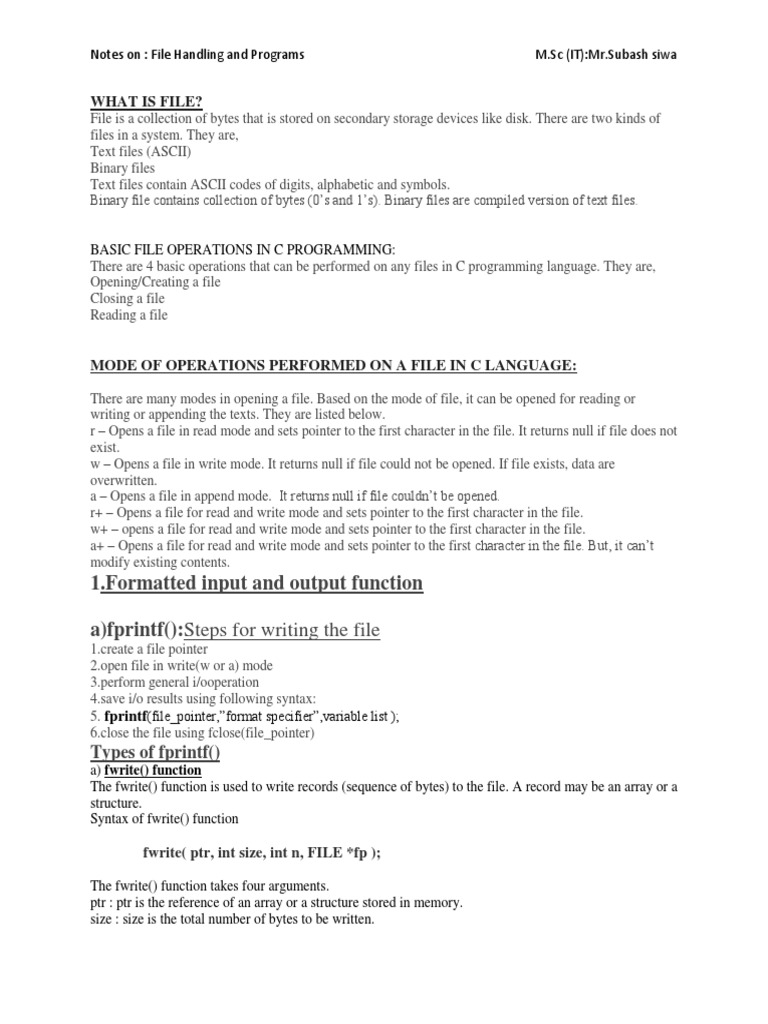 Note Of File Handlingpdf Computer File Pointer Computer